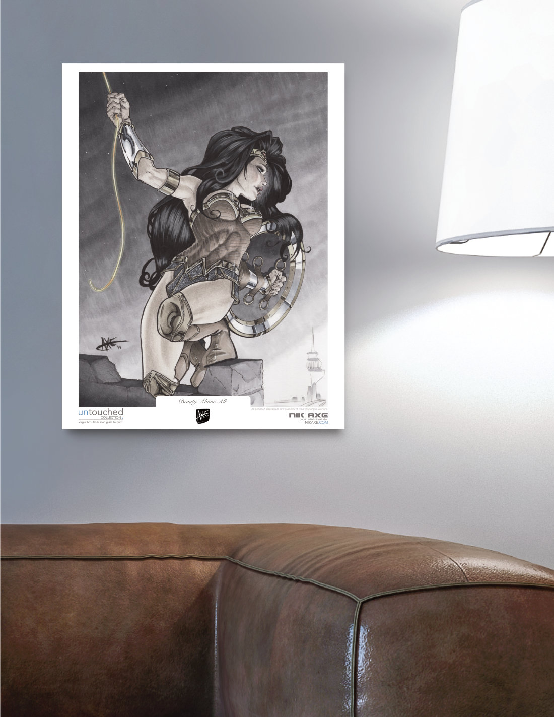 Wonder Woman Art Print Justice League DC Comics Beauty Above All Picture Hanging in Livingroom