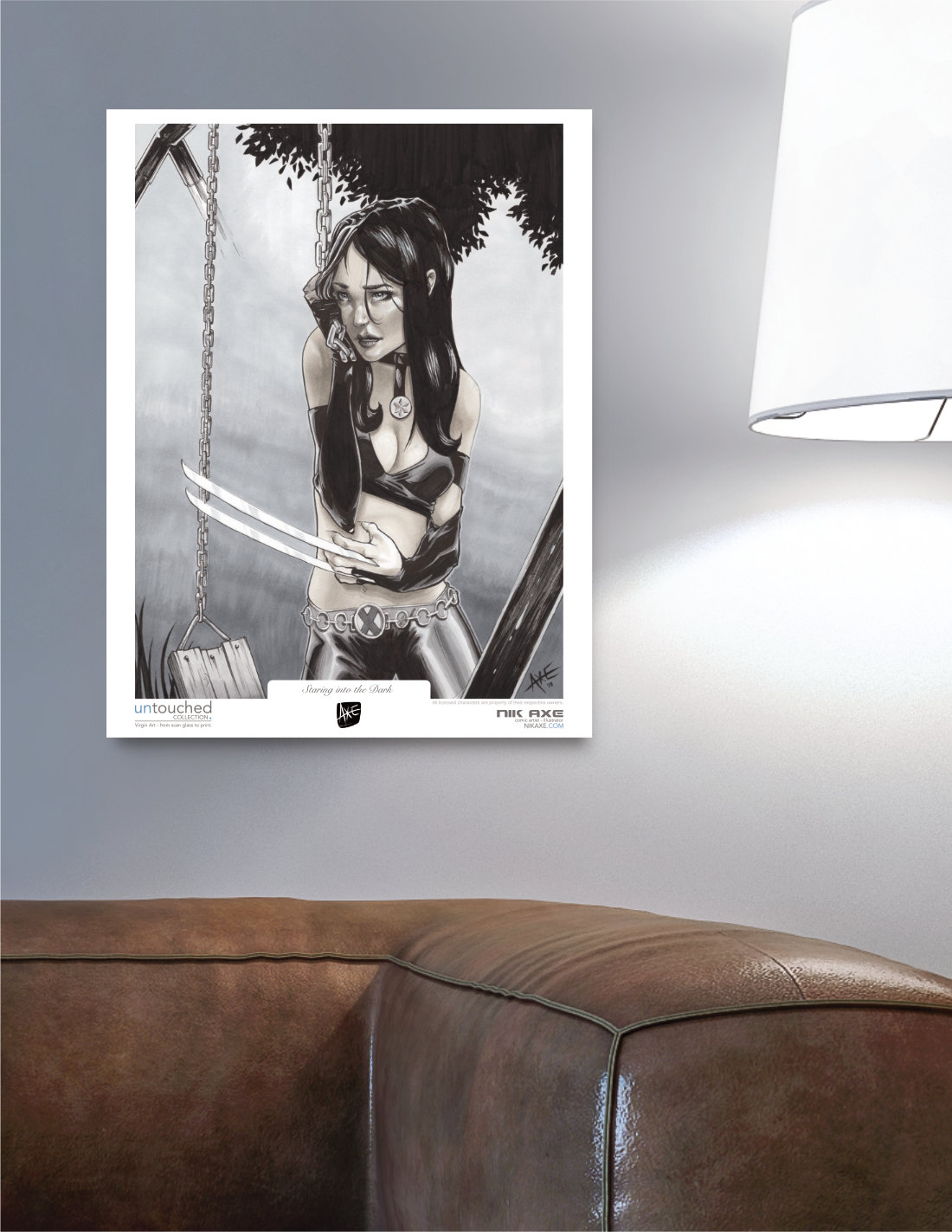 X-23 Art Print X-Men Marvel Comics Staring Into The Dark Print Hanging in Livingroom